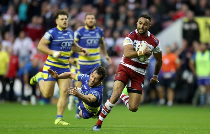 Bevan French, right, marked his first Wigan start with a try during their 20-6 win over Warrington