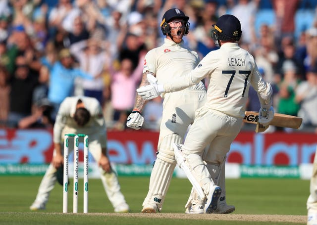 England's Ben Stokes and Jack Leach celebrate winning the third Ashes Test