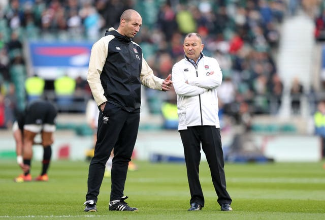 England head coach Eddie Jones, right, with Steve Borthwick