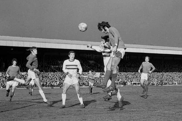 Manchester United's George Best heads home the first of his six goals in an 8-2 FA Cup fifth round win at Northampton