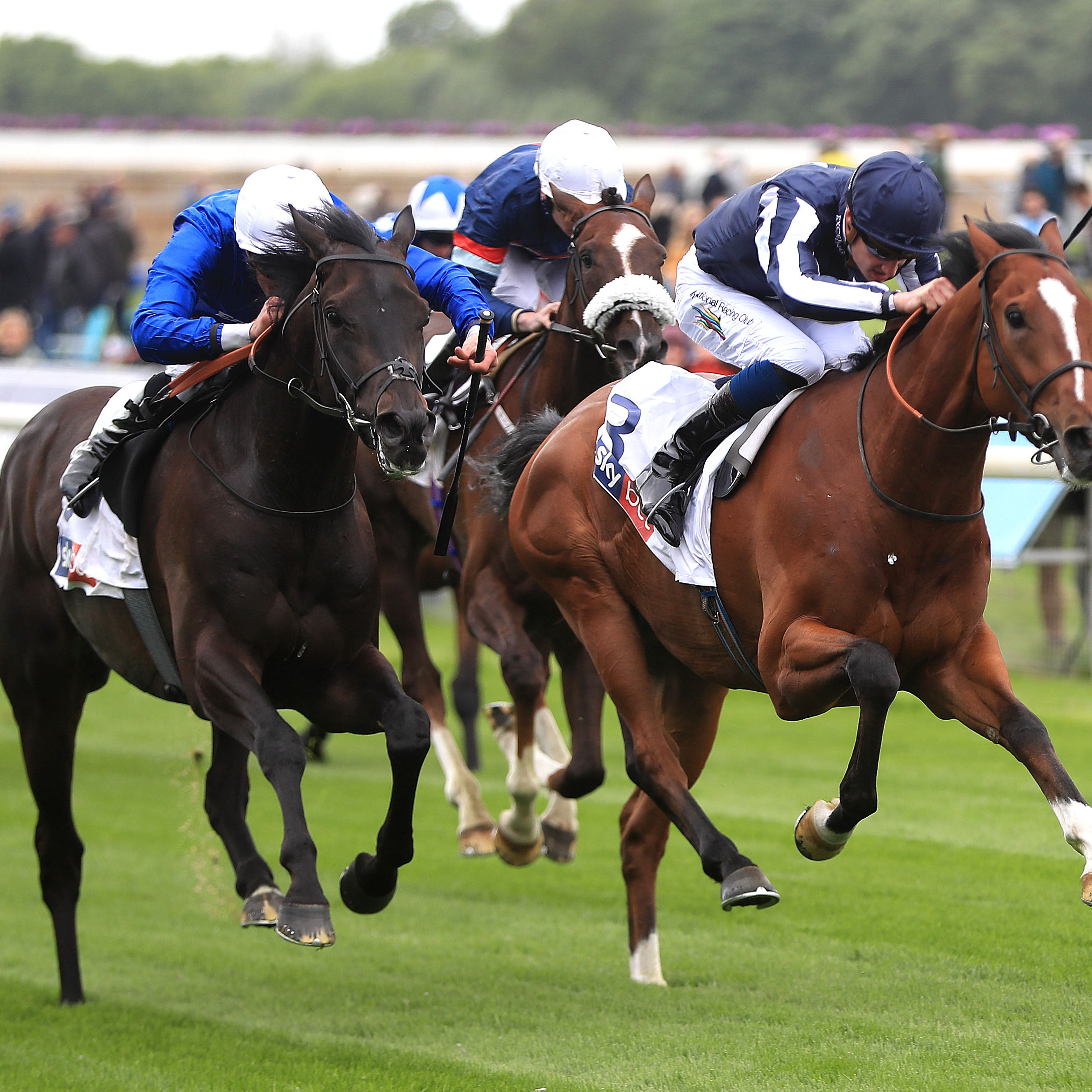 Hamada (left) and Crowned Eagle fight out a thriller at York (Simon Cooper/PA)