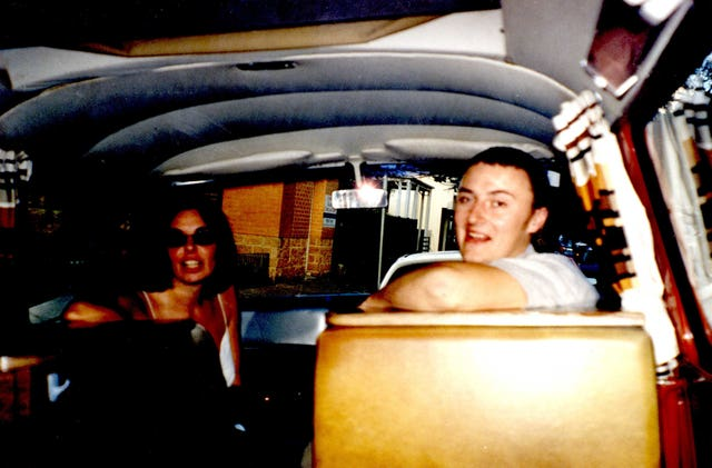 Murdered British backpacker Peter Falconio and Joanne Lees sitting inside a car