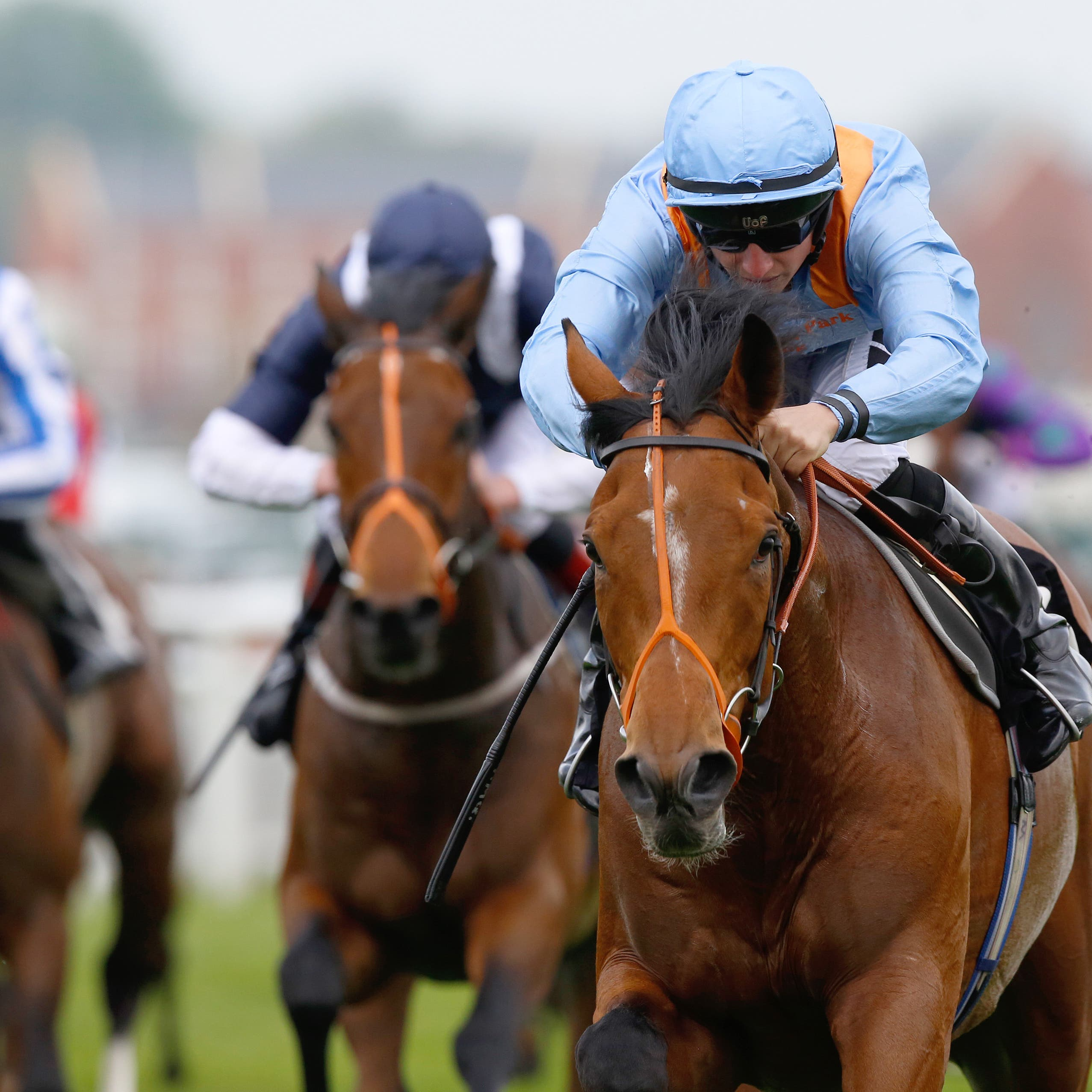 Raymond Tusk in winning action at Newbury