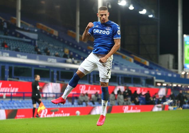 Richarlison celebrates his goal for Everton