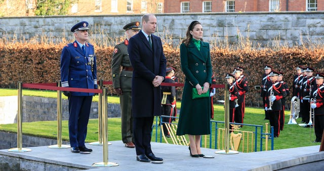 The Duke and Duchess of Cambridge attending a wreath-laying ceremony as part of their visit to the Garden of Remembrance in Dublin