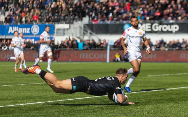 Saracens' Alex Lewington scores a try as they beat Exeter 28-7