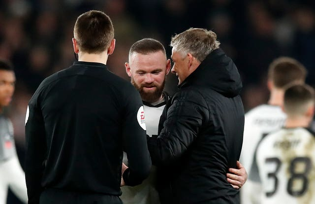 Rooney was embraced by Ole Gunnar Solskjaer at full-time