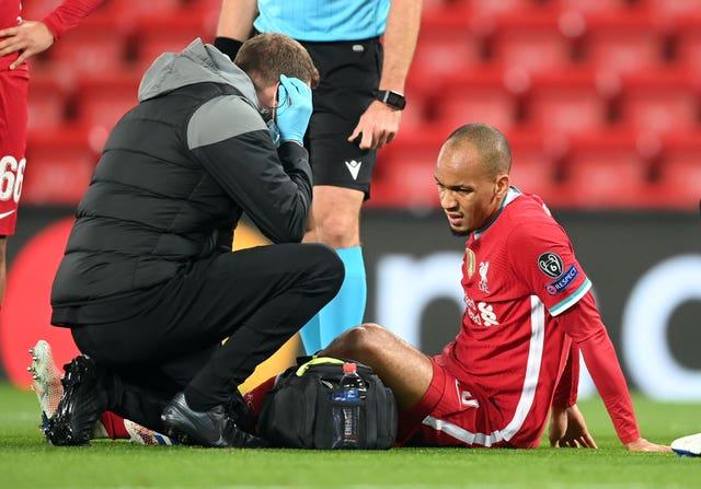 Fabinho's injury against Midtjylland added to Liverpool's defensive problems (Michael Regan/PA).
