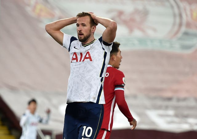 Harry Kane reacts to missing a big chance for Tottenham