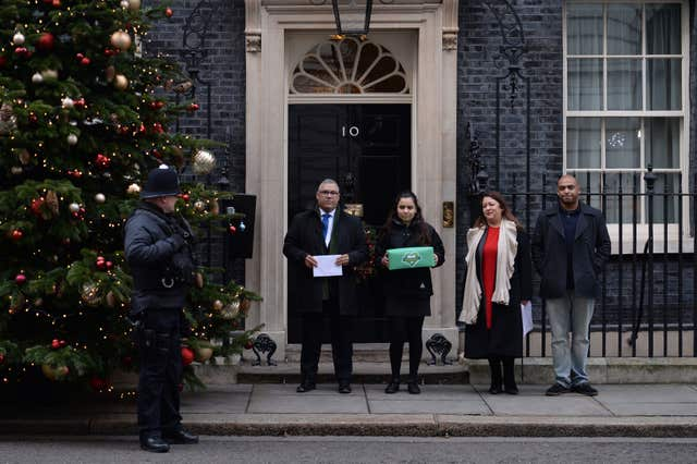 Mr Burton visiting Downing Street with Grenfell United (Stefan Rousseau/PA)