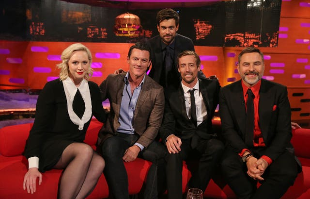 Host Jack Whitehall with (seated left to right) Gwendoline Christie, Luke Evans, Peter Crouch and David Walliams during the filming for the Graham Norton Show