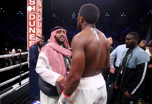 Joshua speaks with Prince Abdulaziz Al Saud after winning