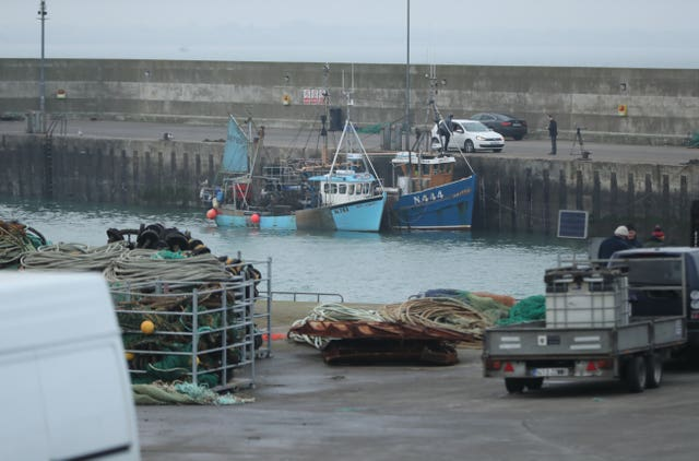 Two Northern Ireland-registered fishing boats seized by the Irish navy moored in the port of Clogherhead in Co Louth