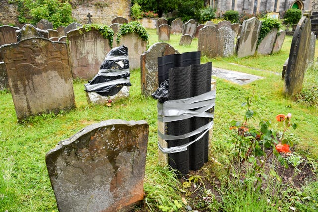 The smashed grave in Henbury, Bristol