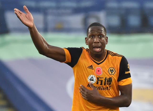 Willy Boly appeals during the match against Leicester