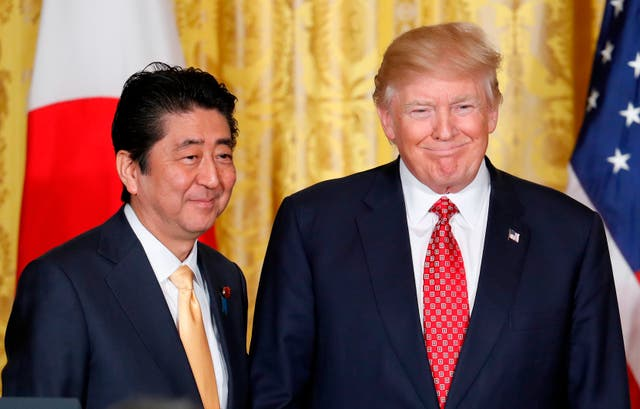President Donald Trump and Japan's Shinzo Abe at the White House during a previous meeting (Pablo Martinez Monsivais/AP)