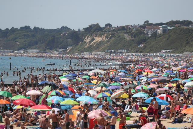 Busy scenes on Bournemouth beach