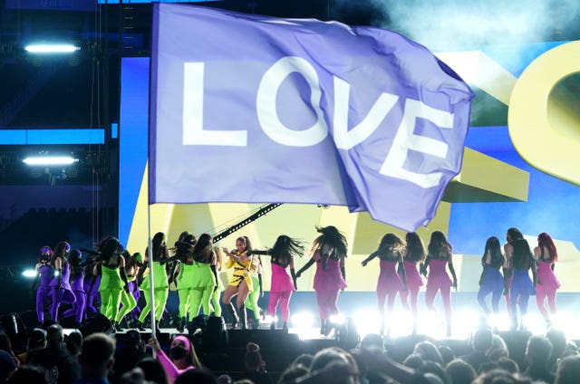 Jennifer Lopez performs at Vax Live: The Concert To Reunite The World at SoFi Stadium in Inglewood, California