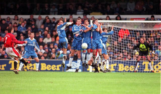 Beckham scored two, including a trademark free-kick, as United overpowered Chelsea 5-3 at Stamford Bridge in the third round in 1998