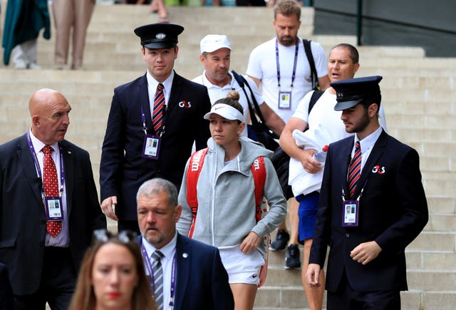 Simona Halep made her way to the practice court on Saturday morning