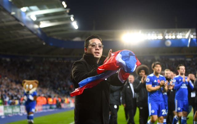 Aiyawatt Srivaddhanaprabha, son of late Leicester chairman Vichai Srivaddhanaprabha applauds the fans after the match with Burnley (Joe Giddens/PA).