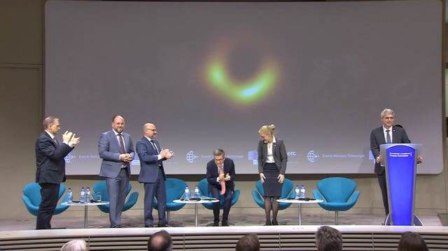 Scientists revealed the first ever image of a black hole at an Event Horizon Telescope press conference (Event Horizon Telescope/European Southern Observatory/PA)
