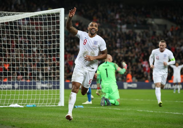 Callum Wilson celebrates scoring on his England debut in 2018