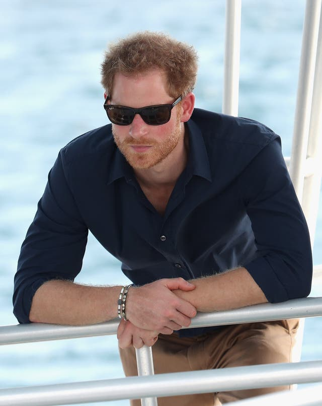 Prince Harry on a boat trip to learn about coral reef conservation in waters of Grenada during his 2016 tour of the Caribbean. (Chris Jackson/PA Images)