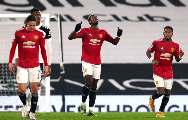 Paul Pogba, centre, celebrates scoring United's winner