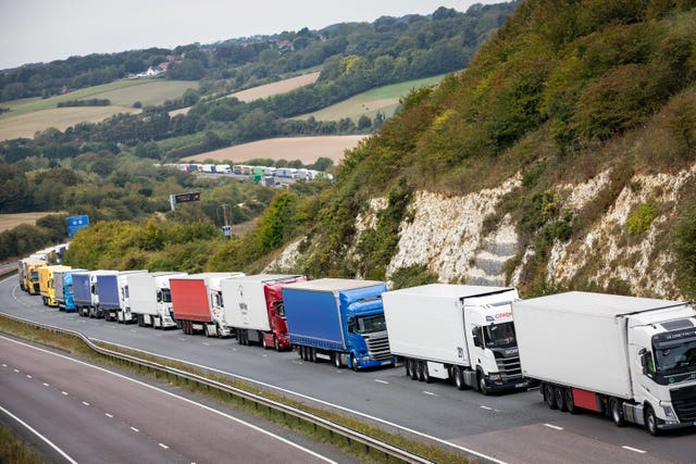 Lorries queuing on the A20 near Dover in Kent