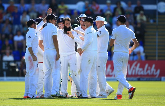 Moeen, centre, took five wickets to help England to victory in Cardiff (Nick Potts/PA)