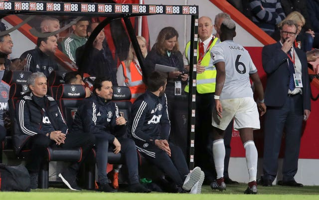 Paul Pogba, right, clashed with Jose Mourinho, left