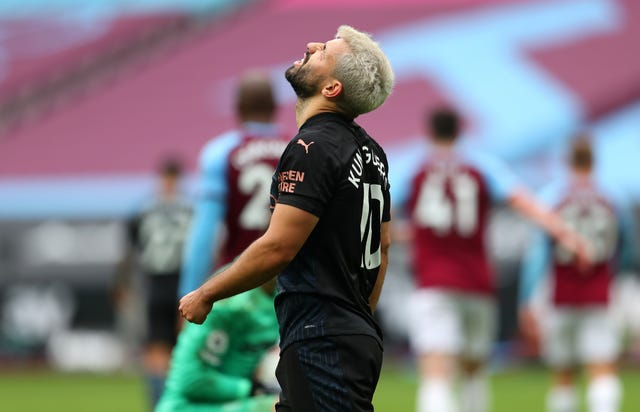 Aguero suffered another injury setback at West Ham on Saturday