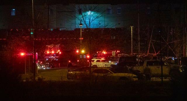 The scene outside the FedEx facility (AP)