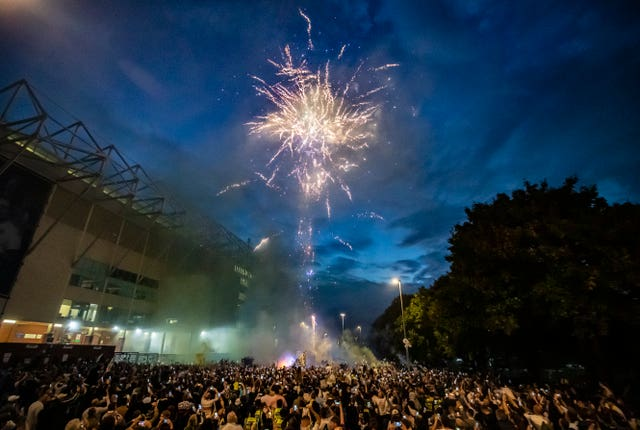 Leeds fans celebrated their return to the Premier League after 16 years away
