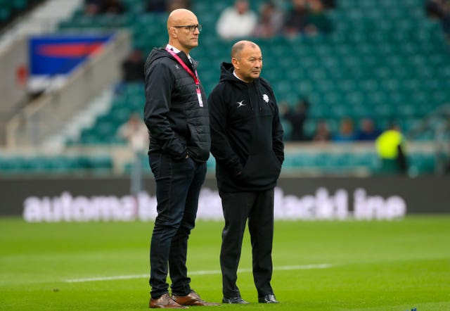 John Mitchell (left) with England head coach Eddie Jones.