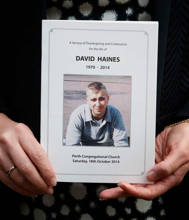 David Haines was killed in 2014 (Danny Lawson/PA)