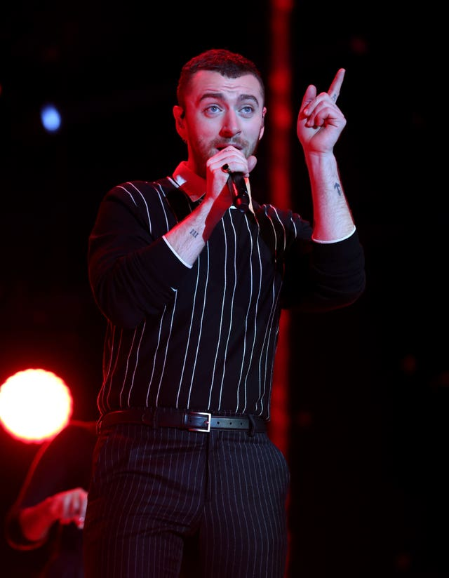 Sam Smith performs on stage (Isabel Infantes/PA)