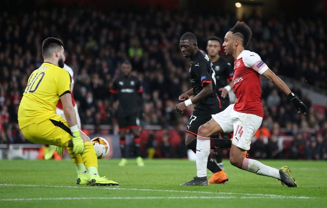 Pierre-Emerick Aubameyang scored twice as Arsenal progressed to the last eight of the Europa League