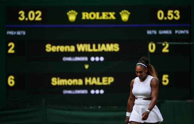 Serena Williams lost to Simona Halep in the women's singles final at Wimbledon earlier this year.