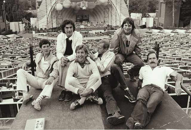 Michael Palin, Terry Jones, Eric Idle, Graham Chapman, Terry Gilliam and John Cleese at the Hollywood Bowl