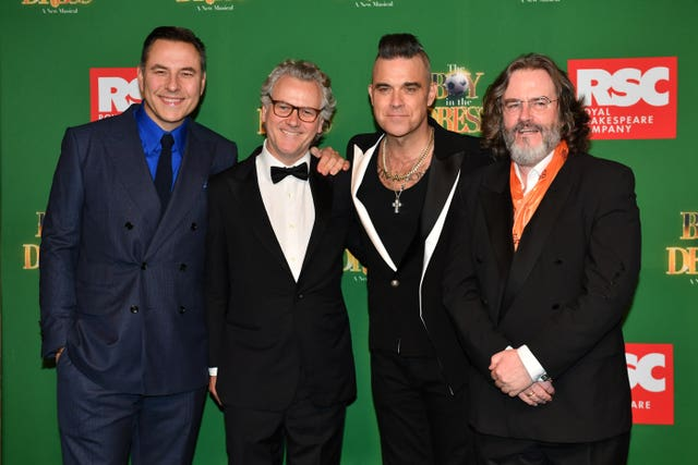 David Walliams, Guy Chambers, Robbie Williams and Gregory Doran attending the opening night of the Boy In The Dress at the Royal Shakespeare Company in Stratford Upon Avon