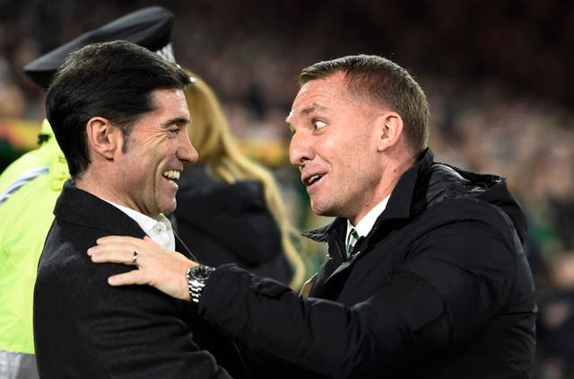 Celtic manager Brendan Rodgers (right) greeted Valencia boss Marcelino ahead of kick-off