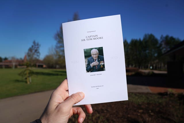 The order of service for the funeral