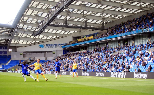 Just over 2,500 Brighton fans took in a pre-season friendly against Chelsea at the Amex Stadium
