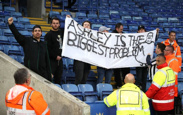 Newcastle fans protesting against owner Mike Ashley at Leicester