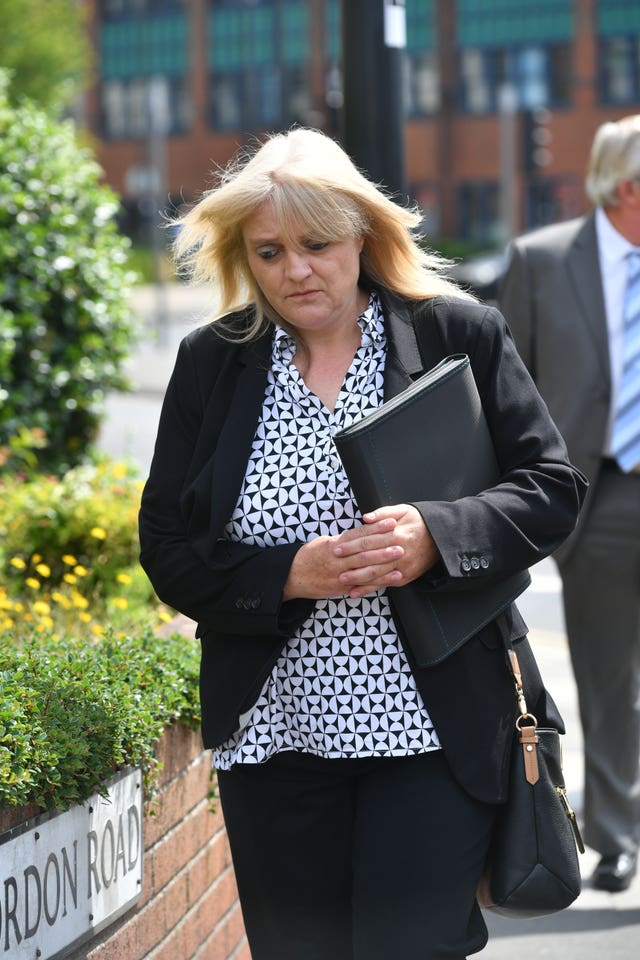 Sherry Bray leaving Swindon Magistrates' Court (Ben Birchall/PA)