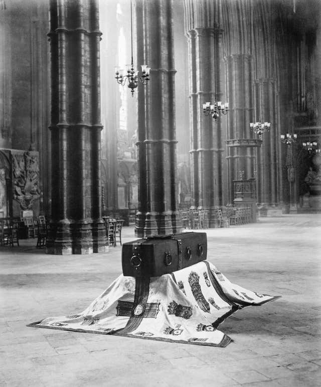 The Unknown Warrior's coffin resting in Westminster Abbey