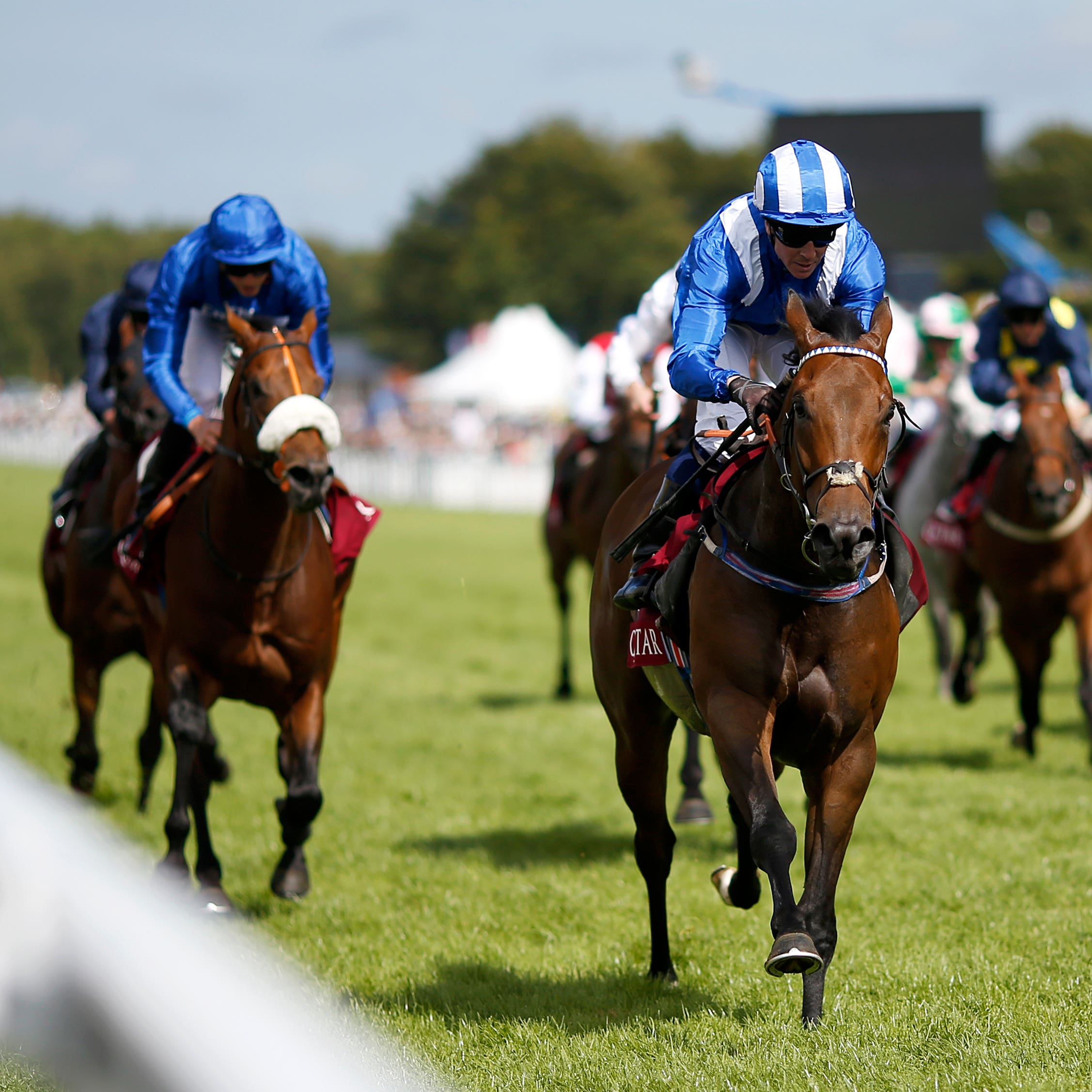 Battaash (centre) bounding to victory in the Qatar King George Stakes at Goodwood (Paul Harding/PA)