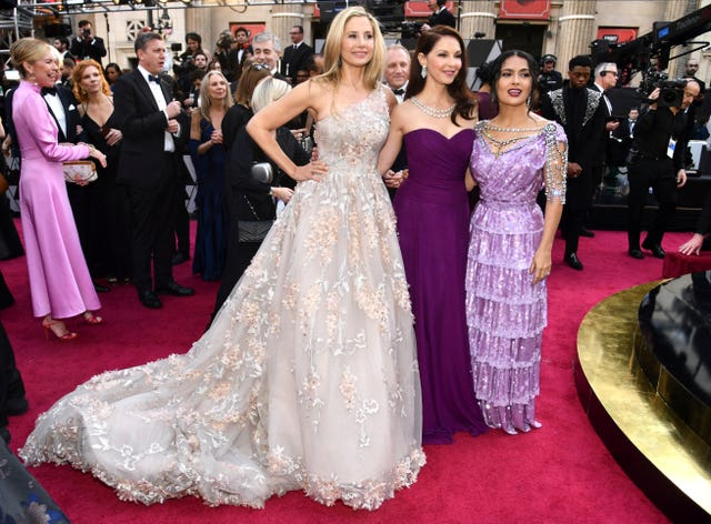 Mira Sorvino, from left, Ashley Judd and Salma Hayek (Charles Sykes/Invision/AP)